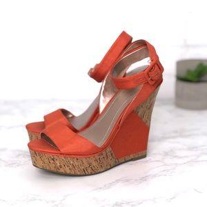 BCBGeneration Orange Platform Strappy Wedge Heels
